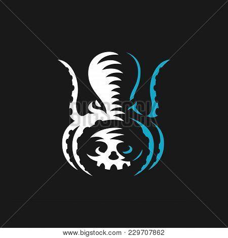 Octopus Vector Logo. Illustration Skull In Tentacles Octopus, Emblem Design On Black Background