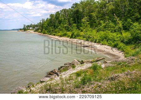 Nice Lake Erie Shoreline In Ashtabula Co. On This Pretty Summer Day.