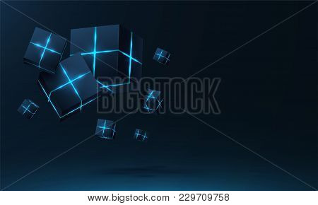 Vector Realistic 3d Cubes With Neon Parts Compose On Dark Space Background . Cyberspace ,hi Tech , F