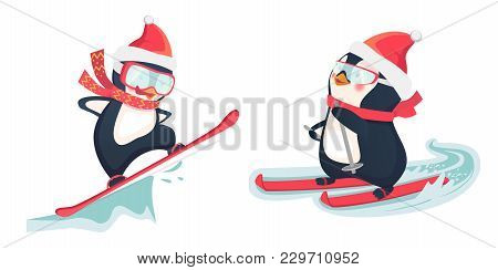 Penguin Riding On Skis On Snow. Snowboarder At Jump. Penguin Illustration.