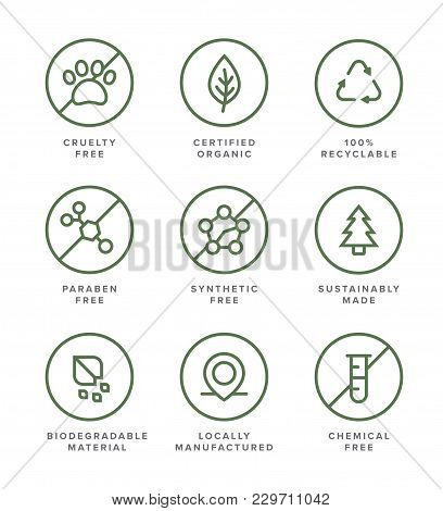 Health And Beauty Product Flat Vector Icon Set For Organic, Earth-friendly, Socially Conscious Busin