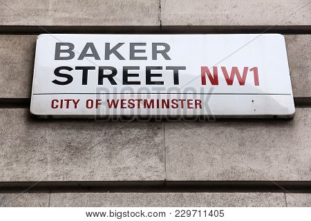London, Uk - July 7, 2016: Baker Street Sign In London, Uk. London Is The Most Populous City In The