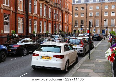 London, Uk - July 7, 2016: Cars Parked Along Street In Marylebone Residential District In London. Lo