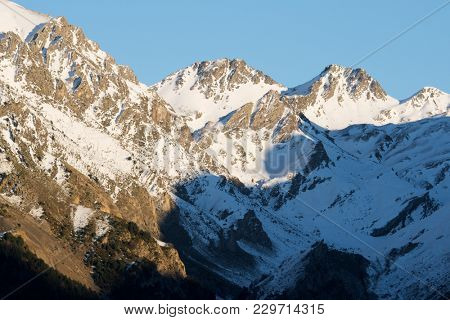 Snowy peaks in Tena Valley, Panticosa, Aragon, Huesca, Spain.