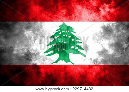 Old Lebanon Grunge Background Flag, Vintage Flag