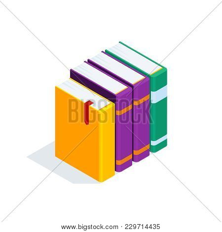 Isometric Books Isolated On White Background. 3d Stack Of Books. Pile Of Books With Bookmarks. Conce