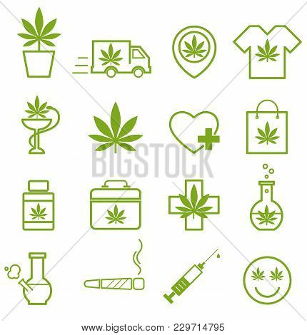 Marijuana, Cannabis Icons. Set Of Medical Marijuana Icons. Marijuana Leaf. Drug Consumption, Marijua