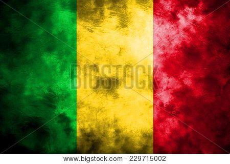 Old Mali Grunge Background Flag, Vintage Flag