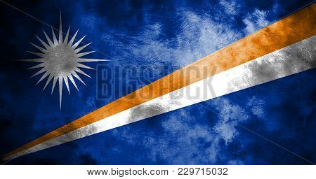 Old Marshall Islands Grunge Background Flag, Vintage Flag