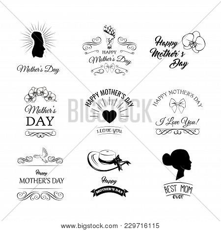 A Set Of Cute Design Elements For Mother S Day. Vector Illustration. Heartd, Flowers, Bows, Swirls A