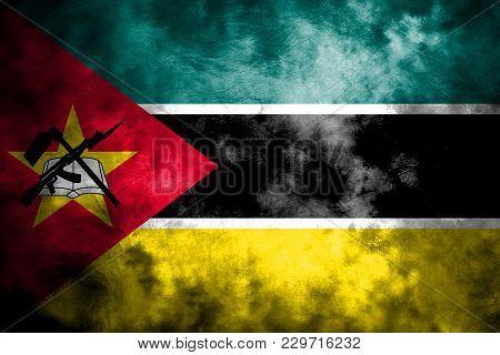Old Mozambique Grunge Background Flag, Vintage Flag