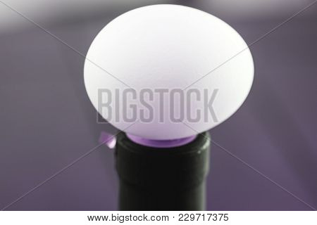 Amazing Eggs Picture In White Color And Macro Close Up View Of Egg Top, Isolated On Gray Background