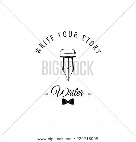 Feather Quill Pen Flat Icon. Writer Logo With Bow Tir. Write Your Story Lettering. Vector Illustrati
