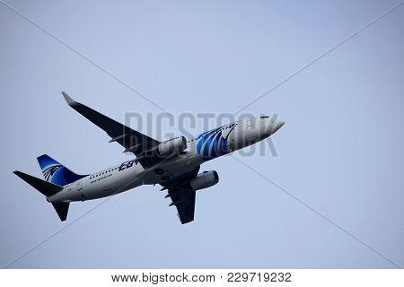 Amsterdam The Netherlands - March 4th, 2018: Su-gek Egyptair Boeing 737-800 Takeoff From Aalsmeerbaa