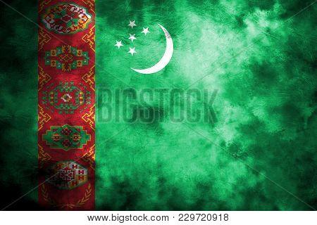 Old Turkmenistan Grunge Background Flag, Vintage Flag