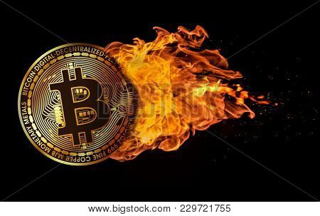 3d Rendering Of A Bitcoin Flying And Engulfed In Trailing Flames With Sparks Flying On A Black Backg