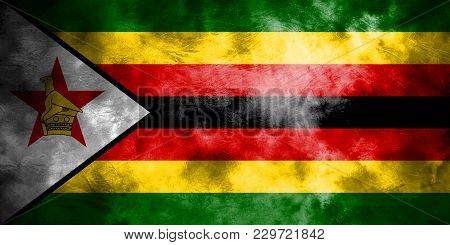 Old Zimbabwe Grunge Background Flag, Vintage Flag