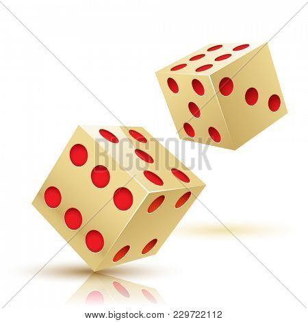 Illustration two Gold Dices on a white background. Gambling icon.
