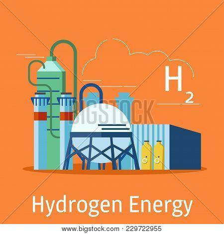 Trendy Hydrogen Gas Renewable Energy Production Plant Facility Design Element On An Orange Backgroun