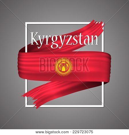 Kyrgyzstan Flag. Official National Colors.kyrgyzstan 3d Realistic Ribbon. Waving Vector Patriotic Gl