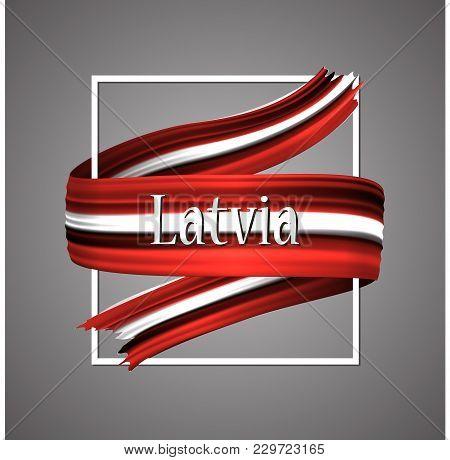 Latvia Flag. Official National Colors. Latvian 3d Realistic Ribbon. Waving Vector Patriotic Glory Fl