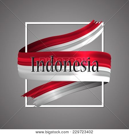 Indonesia Flag. Official National Colors. Indonesian 3d Realistic Ribbon. Waving Vector Patriotic Gl