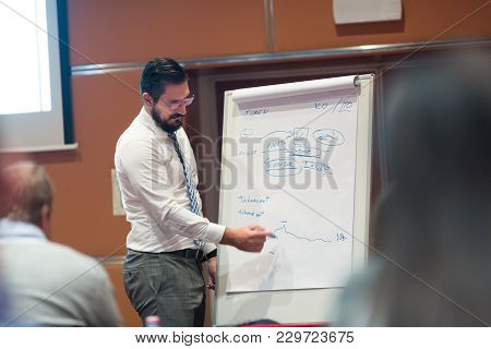 Skiled Businessman Presenting Project To His Work Team At Informal Company Business Training Meeting