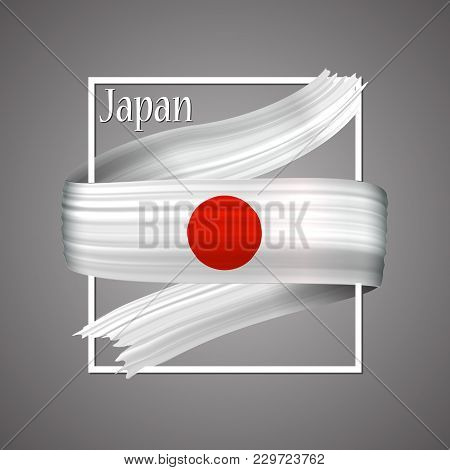 Japan Flag. Official National Colors. Japan 3d Realistic Ribbon. Waving Vector Patriotic Glory Flag