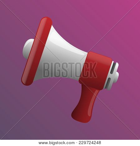 Vector Illustration Of A Flat Red Loudspeaker For Advertisement And Announcement Symbols On A Pink B