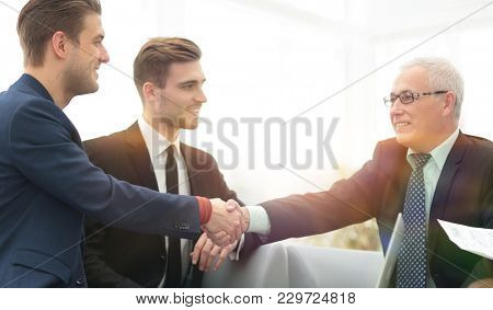 Partners concluding deal and shaking hands in the presence of te