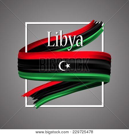 Libya Flag. Official National Colors. Libyan 3d Realistic Ribbon. Waving Vector Patriotic Glory Flag