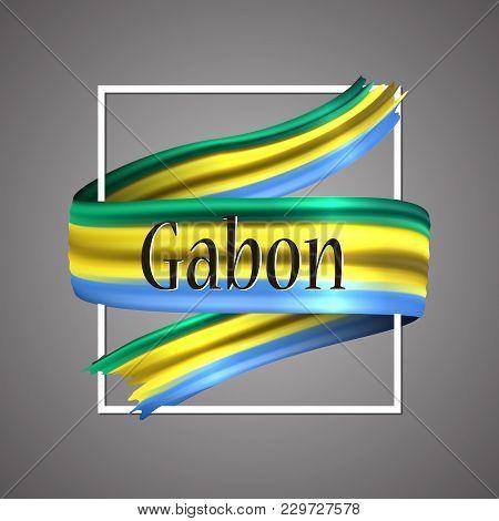 Gabon Flag. Official National Colors. Gaboni 3d Realistic Ribbon. Waving Vector Patriotic Glory Flag
