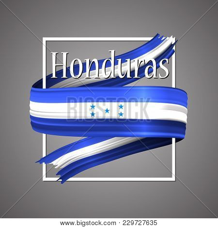 Honduras Flag. Official National Colors. Honduras 3d Realistic Ribbon. Waving Vector Patriotic Glory
