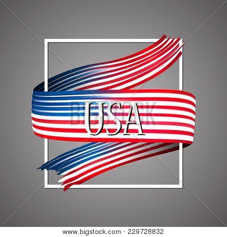 United States Of America Flag. Official National Colors. Usa. 3d Realistic Ribbon. Waving Vector Pat