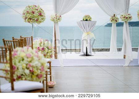 Wedding Venue Arch, Altar, Roses, Flower, Floral Decorated - Focus On Arch And Altar