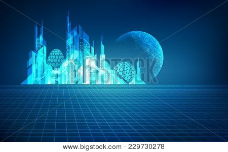 Concept Of Digital Technology World, Graphic Of Futuristic City With 3d Grid As Foreground