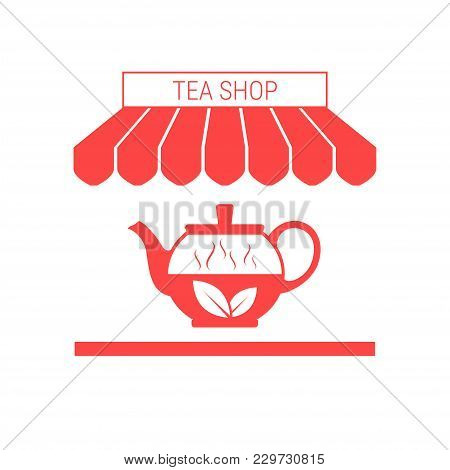 Tea Shop Single Flat Vector Icon. Striped Awning And Signboard. A Series Of Shop Icons.