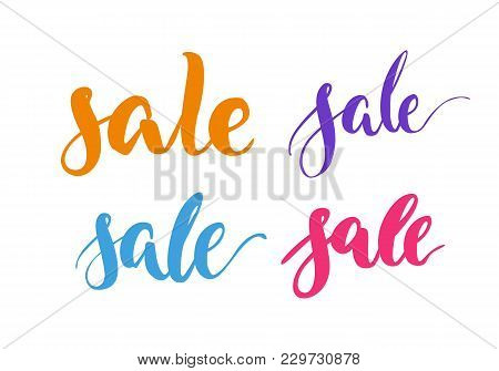 Set Lettering, Sale, Multicolor, Isolated. Collection Of Inscriptions About Annual Sellout For Fair,