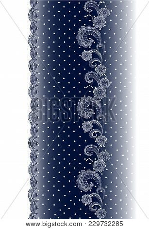 Vertical Seamless Border With Lace Pattern, Floral Vector With Openwork Braid. Lace On A Blue Backgr