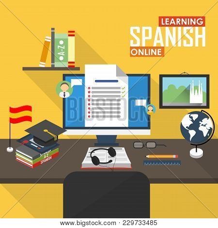 Flat Design Illustration Concept Of Learning Spanish Language Online, Distance Education And Online