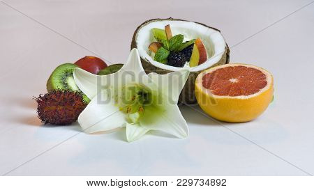 Half Coconut With Cream And Fresh Fruits Salad Still Life