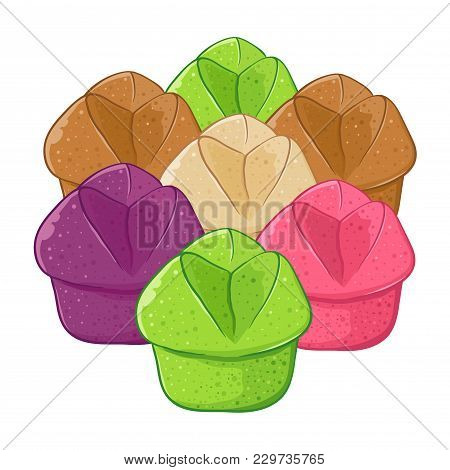 Vector Stock Of Kue Mangkok Indonesian Traditional Food Also Known As Cup Cakes, In Various Color An