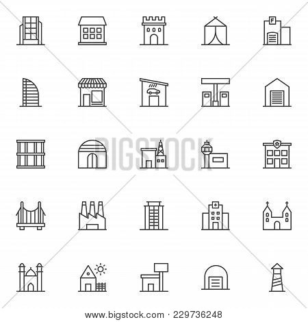 Buildings Outline Icons Set. Linear Style Symbols Collection, Line Signs Pack. Vector Graphics. Set