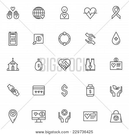 Charity Outline Icons Set. Linear Style Symbols Collection, Line Signs Pack. Vector Graphics. Set In