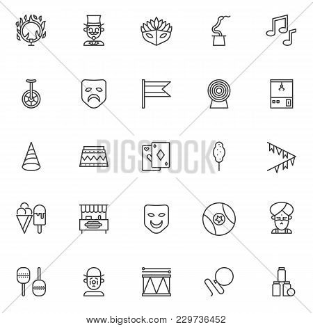 Circus Elements Outline Icons Set. Linear Style Symbols Collection, Line Signs Pack. Vector Graphics