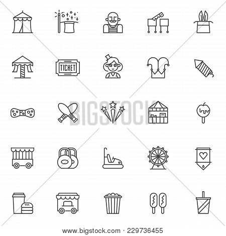 Circus Outline Icons Set. Linear Style Symbols Collection, Line Signs Pack. Vector Graphics. Set Inc