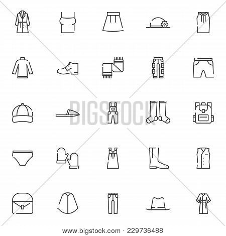 Clothing Elements Outline Icons Set. Linear Style Symbols Collection, Line Signs Pack. Vector Graphi