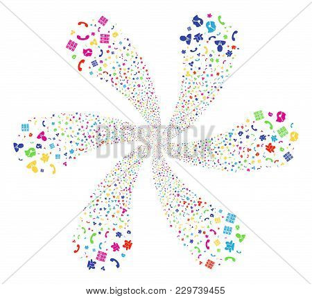 Multicolored Call Center Symbols Swirl Flower With 6 Petals. Suggestive Curl Combined From Randomize