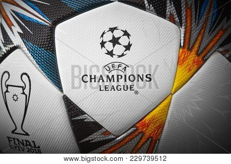 Kiev, Ukraine - February 22, 2018: Uefa Champions League Match Ball. Close up