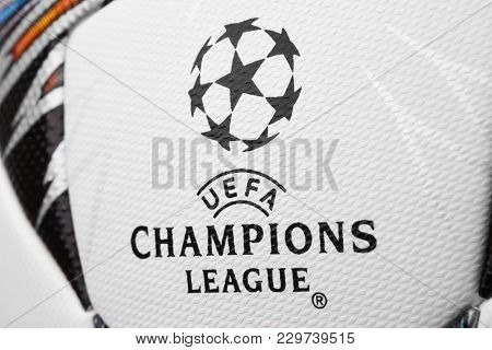 Kiev, Ukraine - February 22, 2018: Uefa Champions League official Adidas 2018 Champions League Final Soccer ball
